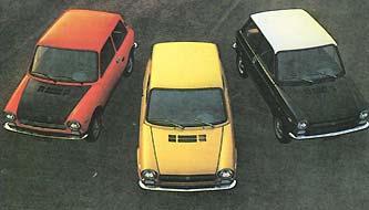 Аутобьянки А-112 (слева направо): Абарт, Стандарт, Элегант
